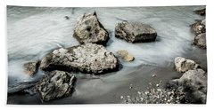 Rocks In The River Beach Sheet by Andrew Matwijec