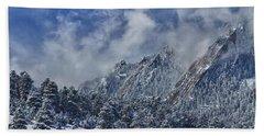 Rocky Mountain Dusting Of Snow Boulder Colorado Beach Sheet