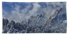 Rocky Mountain Dusting Of Snow Boulder Colorado Beach Towel