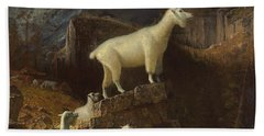 Rocky Mountain Goats Beach Towel by Albert Bierstadt