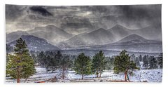 Rocky Mountain Snow Storm Estes Park Colorado Beach Towel