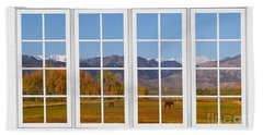 Rocky Mountains Horses White Window Frame View Beach Towel