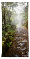 Rocky Trail In The Foggy Forest Beach Towel