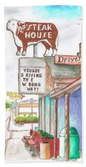 Rod's Steak House In Route 66 - Williams - Arizona Beach Sheet by Carlos G Groppa