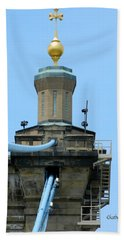 Beach Towel featuring the photograph Roebling Bridge From Kentucky by Kathy Barney