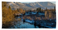 Rogue River Winter Beach Towel by Mick Anderson