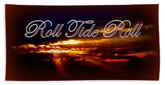 Roll Tide Roll W Red Border - Alabama Beach Sheet by Travis Truelove