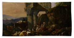 Roman Landscape With Cattle And Shepherds Beach Towel by Johann Heinrich Roos