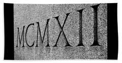 Roman Numerals Carved In Stone Beach Towel
