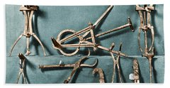 Beach Towel featuring the photograph Roman Surgical Instruments, 1st Century by Science Source