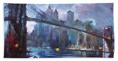 Romance By East River II Beach Sheet by Ylli Haruni