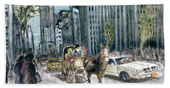 New York 5th Avenue Ride - Fine Art Painting Beach Towel