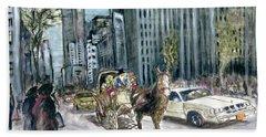 New York 5th Avenue Ride - Fine Art Painting Beach Sheet