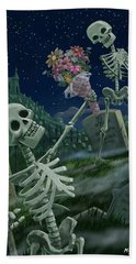 Romantic Valentine Skeletons In Graveyard Beach Towel by Martin Davey