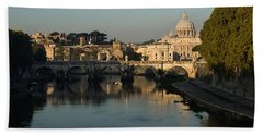 Rome - Iconic View Of Saint Peter's Basilica Reflecting In Tiber River Beach Towel