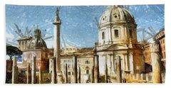Rome Italy - Drawing Beach Towel