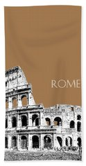 Rome Skyline The Coliseum - Brown Beach Towel