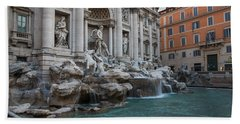 Rome's Fabulous Fountains - Trevi Fountain No Tourists Beach Towel