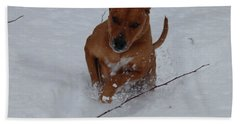 Beach Towel featuring the photograph Romp In The Snow by Mim White