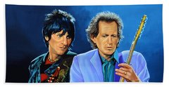Ron Wood And Keith Richards Beach Sheet by Paul Meijering