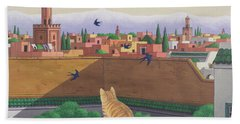 Rooftops In Marrakesh Beach Towel by Larry Smart