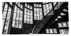 Rookery Building Winding Staircase And Windows - Black And White Beach Sheet