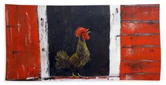Beach Towel featuring the painting Rooster In Window by Lee Piper