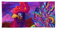Beach Towel featuring the painting Rooster On The Horizon by Eloise Schneider