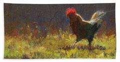 Rooster Strut - Impressionistic Chicken Landscape - Abstract Farm Art - Chicken Art - Farm Decor Beach Towel