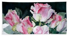Watercolor Of A Pink Rose Bouquet Celebrating Ezio Pinza Beach Sheet