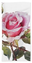 Watercolor Of Pink Rose Grace Beach Sheet