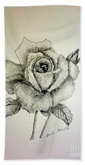Rose In Monotone Beach Towel