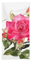 Watercolor Red Rose Margaret Beach Towel