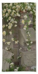 Beach Towel featuring the photograph Rose Sprawling On Stone by Tom Wurl