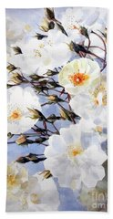 Wartercolor Of White Roses On A Branch I Call Rose Tchaikovsky Beach Sheet