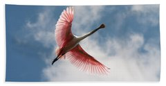 Beach Towel featuring the photograph Roseate Soaring by Paul Rebmann