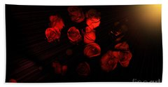 Roses And Black Beach Towel by Oksana Semenchenko
