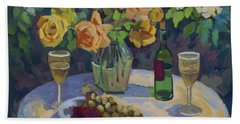 Roses And Chardonnay Beach Towel