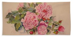 Beach Sheet featuring the painting Roses And More Roses by Beatrice Cloake