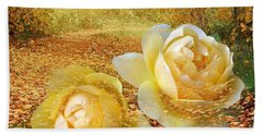 Beach Towel featuring the photograph Roses In The Woods In Autumn by Annie Zeno