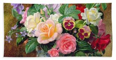 Roses Pansies And Other Flowers In A Vase Beach Towel by Albert Williams