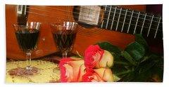 Guitar 'n Roses Beach Towel
