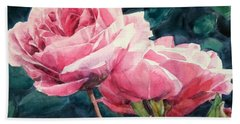 Watercolor Of Two Luscious Pink Roses Beach Sheet