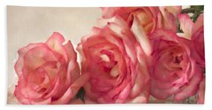 Beach Towel featuring the photograph Rosy Elegance Digital Watercolor by Sandra Foster