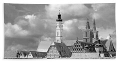 Rothenburg Towers In Black And White Beach Towel