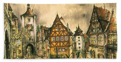Rothenburg Bavaria Germany - Romantic Watercolor Beach Towel