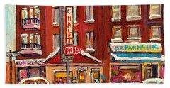 Rotisserie Le Chalet Bar B Q Sherbrooke West Montreal Winter City Scene Beach Towel