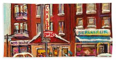 Rotisserie Le Chalet Bar B Q Sherbrooke West Montreal Winter City Scene Beach Sheet by Carole Spandau