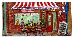 Rotisserie Le Chalet Bbq Restaurant Paintings Storefronts Street Scenes Diners Montreal Art Cspandau Beach Towel