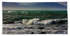 Beach Sheet featuring the photograph Rough Seas Kaikoura New Zealand by Amanda Stadther
